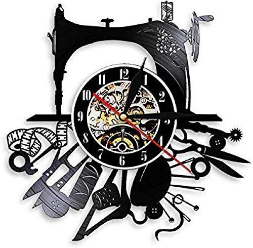 Reloj de pared de vinilo con máquina de coser para colgar en la pared, decoración de la pared, manualidades, decoración de la habitación, de vinilo, reloj de pared, diseño de moda