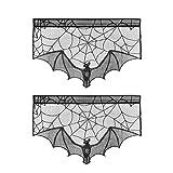 ABOOFAN 2PCS Halloween Chimenea tela Decoración Bat Spider Web Lace Estufa Tela para Sala Chimenea (Negro)
