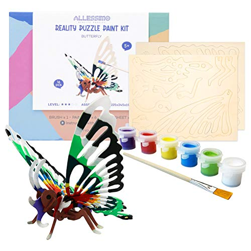 Allessimo 3D Paint Puzzle - Reality Wooden Butterfly Model Kit + Paint & Brush, Build Toys for Kids, Jigsaw 3D Puzzle, Educational Arts & Crafts for Girls & Boys