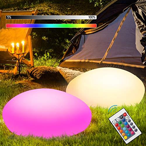 VINGO Kugelleuchte, Kieselstein Form Solarkugel für Außen, 16 Farben 4 Modi Solarleuchten, IP67 RGB Fernbedienung Garten Solarlampen, für Party Rasen Teich LED Dekoleuchte [Energieklasse A++]