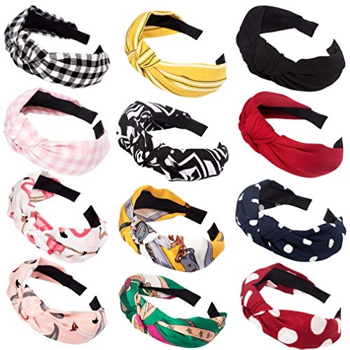ACO-UINT 12 Pack Knotted Headbands for Women, Fashion Headbands with Soft Fabric Boho Headbands for Spring, Bowknot Headbands for Daily Use or Workout