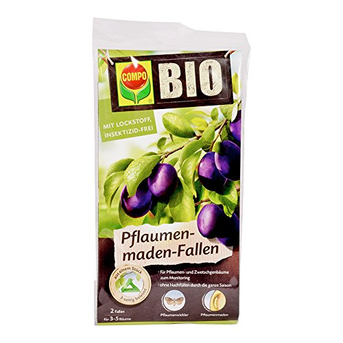 COMPO BIO Pflaumenmaden-Fallen, inkl. Bindedrähte, Mit Lockstoff, Insektizid-frei, 2 Stück