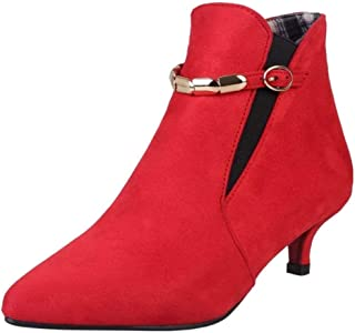 751231fc4 Kaloosh Women's Mature Nubuck Leather Pointed Toe Thin Heel Lace Up Party  Ankle Boots