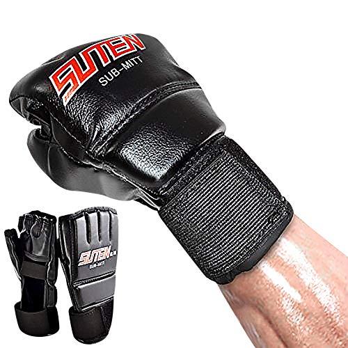 Guantes de Boxeo PU de Deporte Gimnasio Guantes de Entremiento Protección de Muñecas de Sudor Absorbente Sin Dedos Ligero Negro Muay Thai MMA UFC