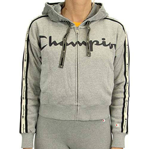 CHAMPION - Felpa con cappuccio, da donna, taglia M, colore: Grigio