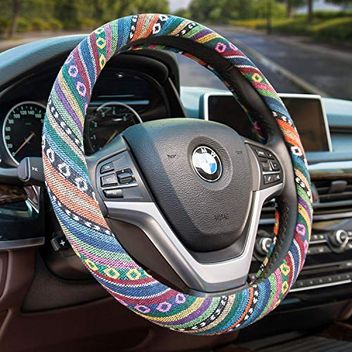"Our #3 Pick is the Valleycomfy Boho Universal 15"" Steering Wheel Cover"