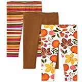 The Children's Place Toddler Girl Harvest Print Knit Leggings 3-Pack, Snow, 4T