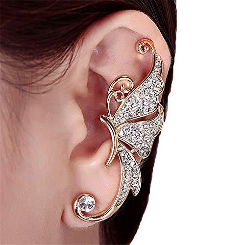 Dorical Ohrbügel Ohrstecker Damen Kristall Schmetterling Flügel Ohr Clip Klemme Ohrring Mode Schmuck