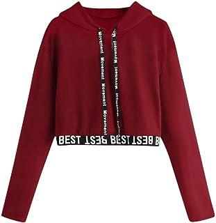 UJUNAOR Women's Letters Long Sleeve Shirt Hoodie Crop Pullover Tops Sweater Sweater Solid Long Sleeve Splicing Sweatshirt ...