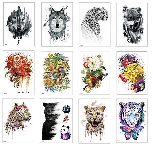 12 Pcs Temporaire Tatouage Autocollants Étanche Tigre Loup Faux Animaux Tatouages Adulte Hommes Femmes Coloré Art