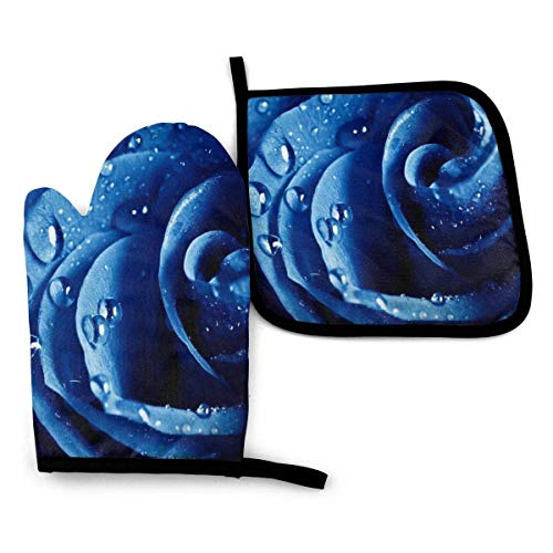 Suministros de Cocina, Guantes de Horno y Juegos de ollas Oven Mitts and Pot Holders Sets, Blue Rose Heat Resistant Waterproof Kitchen Bake Gloves for Microwave BBQ Baking Cooking
