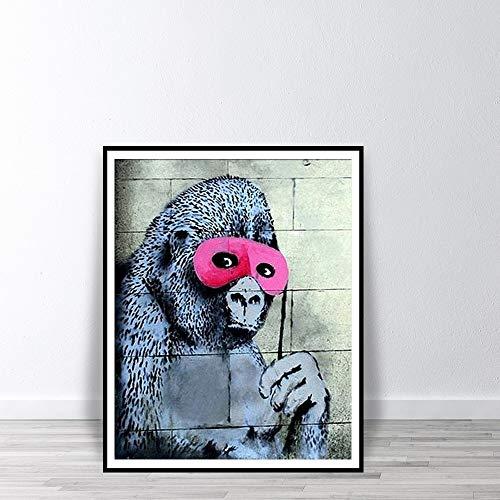 Frameloze Gorilla in roze masker wall art poster print aap versieren chimpansee straat graffiti met oogmasker drukkamer <> 50x70cm