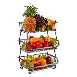 Panier de Rangement à 3 Niveaux avec Fil à roulettes, paniers de Fruits aux légumes, Rangement de Cuisine de Salle de Bain, étagère en métal