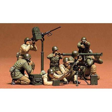 TAMIYA 35086 - 1:35 Figuren-Set US MG/Mörser Trupp(8), Modellbau, Plastik Bausatz, Basteln, Hobby, Kleben, Plastikbausatz