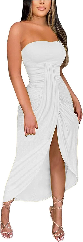 KAIXLIONLY Women's Strapless Sleeveless Solid Tunic Wrap Chest Slit Dress Irregular Hem Ruched Slim Sexy Maxi Dress