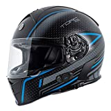 TORC Unisex-Adult T14B Blinc Loaded Mako Full Face Motorcycle Helmet (Flat Black with Scramble Blue Graphic, X-Large)