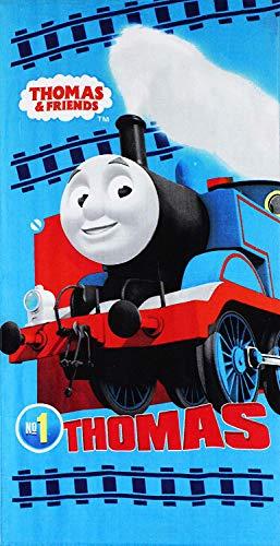 Thomas & Friends - Toalla de playa (algodón, 140 x 70 cm), color azul