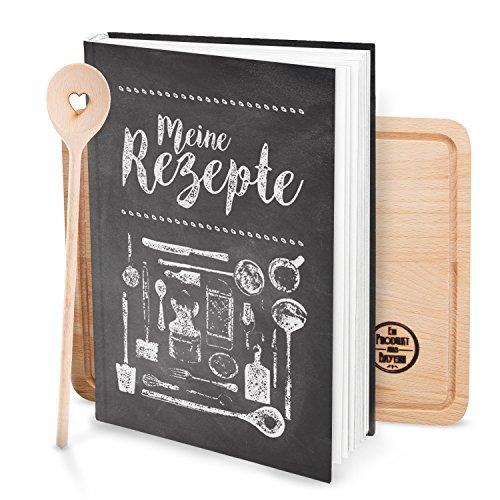 Cadeauset XXL eigen kookboek om zelf te schrijven, met krijt-look en hartvormige lepel en keukenplank, cadeau, notitieboek, keuken, koken, bruiloft, verjaardag, receptenboek, recepten, verzamelen boek