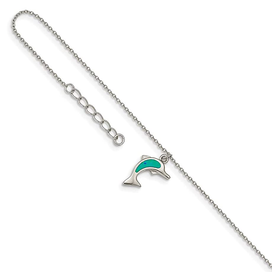 Mia Diamonds Solid 925 Sterling Silver Rhodium-Plated Created Blue Opal Dolphin with 1in ext. Anklet