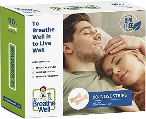 Dr. Breathe Well - 90 Cerotti nasali - Antirussamento - Taglia grande 66 mm 6,6 cm -...