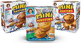 Little Debbie Mini Muffin Variety Pack, 1 Box of Birthday Cake, 1 Box of Blueberry, 1 Box of Chocolate Chip Mini Muffins