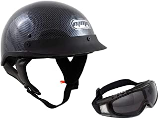 Motorcycle Half Helmet Cruiser DOT Street Legal (L, Carbon Fiber) + FREE Smoked Riding Goggles