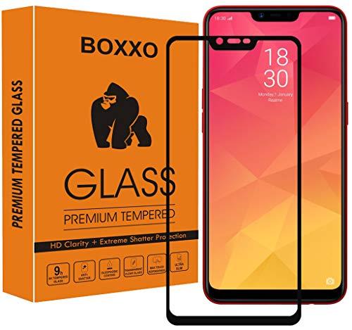 Boxxo Premium Edge to Edge Tempered Glass Screen Protector for Realme 2 [flexible] [Gorilla] Bubble Free Installation [Screatch proof] [Guard] - Black