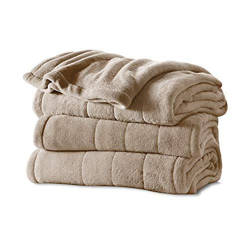Sunbeam Heated Blanket | Velvet Plush, 10 Heat Settings, Mushroom, Full - BSV9GFS-R772-12A44