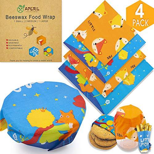 Envoltura de cera de abejas reutilizable, 4 pack envolturas de alimentos de cera de abejas- ecológica, orgánica, alternativa a las bolsas de plástico-1 grande, 2 medianas, 1 pequeña