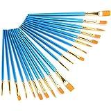 Tomanbery Cepillo de Pintura Gouache Cepillo de Pintura al óleo Suave Cepillo de Pintura de Acuarela 20 Piezas Azul para Acuarela