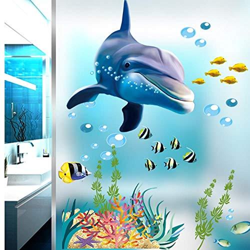 GHJL Delphin Fisch Aquarium Ozean Wandaufkleber Für Kinderzimmer Bad Küche Wohnkultur Tiere Abziehbilder PVC