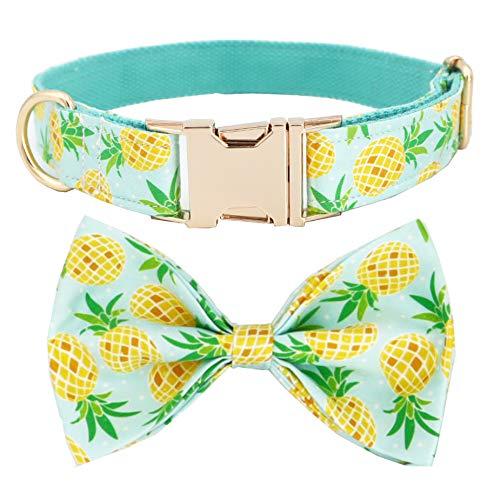 Free Sunday Ananas-Hundehalsband mit Schleife, Hundeschleife, Halsband für Hochzeit, L, blau,...