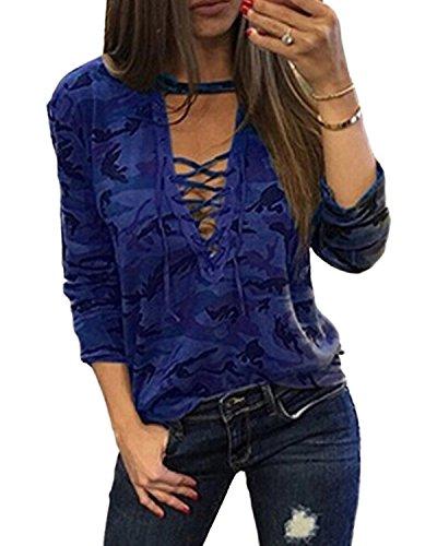 YOINS Donna Camicetta Casuale Maglietta con Spalla Fredda T-Shirt con Collo Alto a Maniche Lunghe Pullover a Righe Felpe Blu EU48
