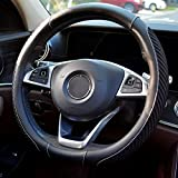 BOKIN Steering Wheel Cover, Microfiber Leather and Viscose, Breathable, Warm in Winter and Cool in Summer, Universal 14.5 Inches (New Black)
