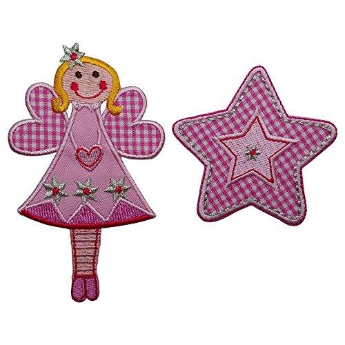 Fee 11x7cm Pink Stern flicken Aufnäher Stoff Patch Dekoration zum Aufbügeln auf Türschild Kissen Hemd Jeans Rock Hosen Kleider Kappe Hut Jacke Schal Halstuch Decke Rucksack Tasche Turnsack Fahne Wimp