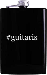 #guitaris - 8oz Hashtag Hip Alcohol Drinking Flask, Black