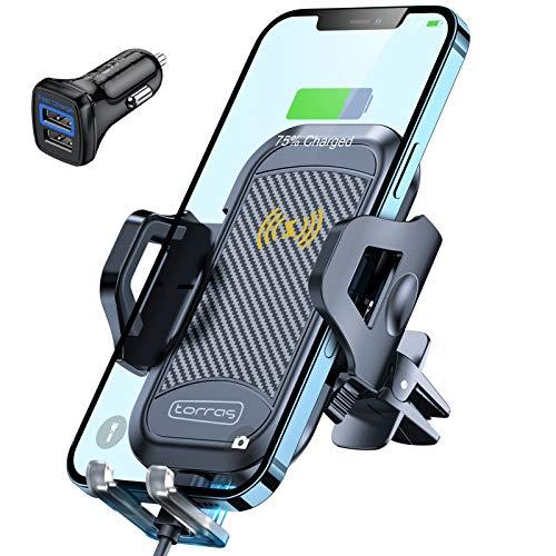 TORRAS Handyhalterung Auto Induktion, Handyhalter Auto mit Ladefunktion Upgrade Kit mit 2 Lüftungsclips Qi Fast Charging Auto für iPhone/Samsung Usw.