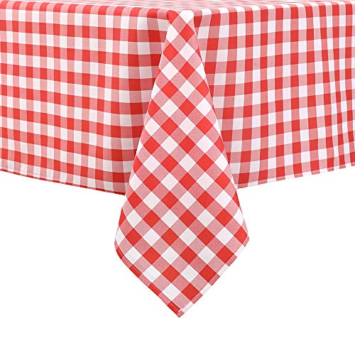 Locika Rectangle Gingham Checkered Tablecloth,Waterproof Spillproof Buffalo Plaid Tablecloth,Washable Wipeable Stain Resistant Fabric Tablecloth (Red and White Checkered, 60' x 84')