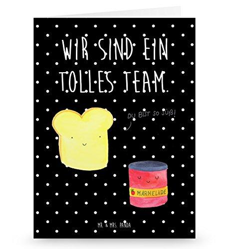 Mr. & Mrs. Panda Grußkarte Toast & Marmelade - 100% handmade in Norddeutschland - Grusskarte, Küche Spruch, Gutschein, Brot, Küche Deko, Toast , Toastbrot,, Frühstück Einladung, Papier, Klappkarte, Karte, Pappe