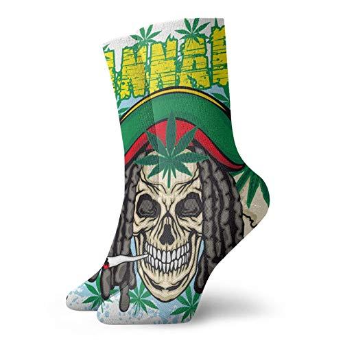 Anime calcetines Calavera Y Hoja de Cannabis Suave Secado Rápido Transpirable Deportes Calcetines Unisex Tripulación Calcetines 30 cm