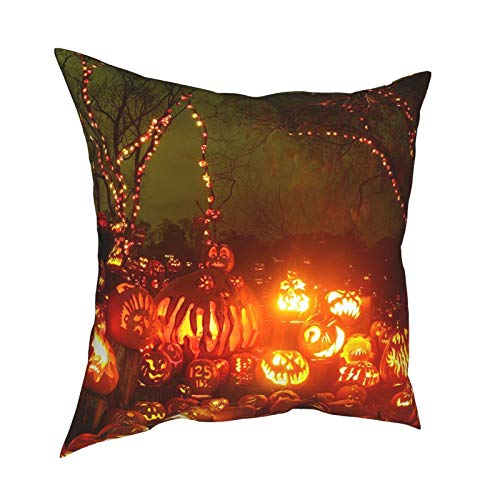 HXJIULI Glowing Pumpkins On Halloween Four Seasons Throw Pillowcase Home Decorative Square Cushion Cover Double-Sided Printing Cozy Throw Pillows Covers 12X12in