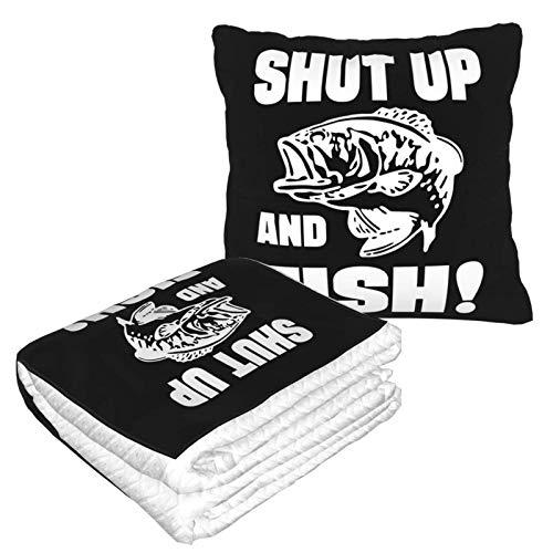 Shut Up & Fish 2-in-1 Premium-Decke, weich, gemütlich, warm, Reisedecke, Flugzeug, Plüsch-Nackenkissen zum Schlafen