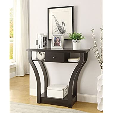 Cappuccino Finish Curved Console Sofa Entry Hall Table with Shelf / Drawer