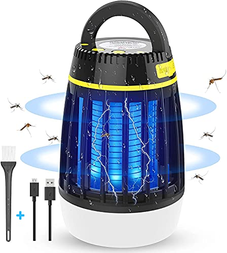 WloveTravel Lampe Anti Moustique, 3 en 1 Lampe UV Tueur de Moustiques et Lampe Camping Lanterne LED, Lampe Anti Insecte Mouche Portable Électrique Étanche USB Rechargeable Interieur Exterieur