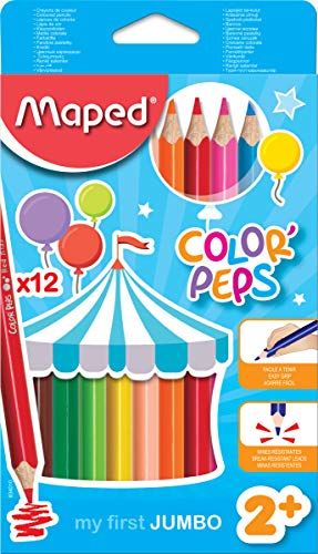 Maped Color'Peps Triangular Jumbo Colored Pencils, Assorted Colors, Pack of 12 (834049ZV)
