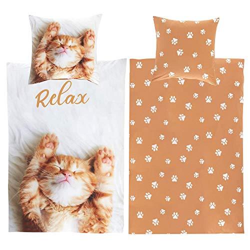 Bettwäsche Katze 135x200 Baumwolle Kinder Junge Mädchen Katzen-Motiv Katzenbettwäsche faul relaxen - kuschelig & flauschig - YKK Reißverschluss - Jugendliche, Teenager - Kinder-Bettwäsche-Set Pfoten