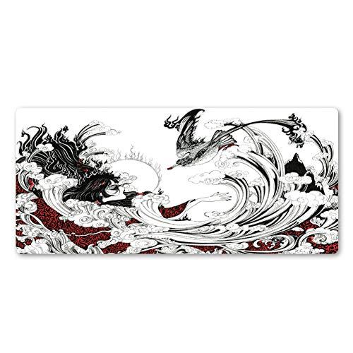 LKHJ muismat nieuwe Chinese kunst terug en witte inkt kunst muismat hoogwaardige muismat computer accessoires toetsenbord muismat 900 x 300 x 2 mm.