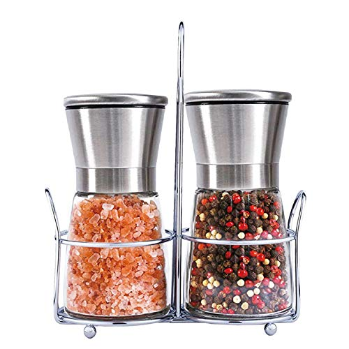 Salt and Pepper Grinder Set of 2 with Stainless Steel Stand, Adjustable Coarseness Salt Grinders and Mills Refillable, Salt and Pepper Shakers with Ceramic Grinding Core and Durable Glass(Short)