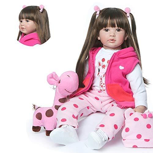 Zero Pam 60 cm Lebensechte Reborn Babypuppen, Weiches Silikon, Echte Realistische Baby Puppe mit Vollgewichtetem Körper, Handgefertigte Süße Baby-Puppe mit Kleidung - Mädche (Artikel 2)