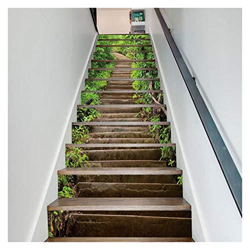 WENYOG Escaleras Pegatinas Escalera Etiqueta Etiqueta de Pared Escalera Steir Steir Decoración Fondo de Pantalla Palillo Impermeable PVC Art Mural (Color : 18X100cmX6pcs)
